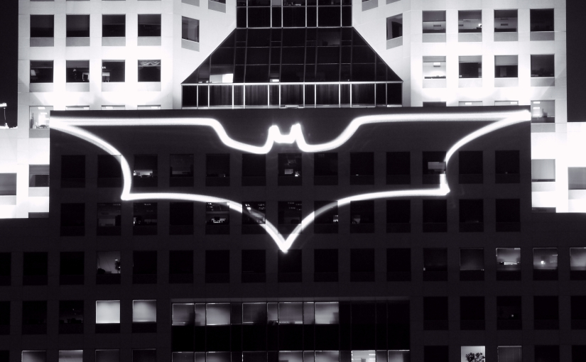 The Bat-Signal displayed on the Fifth Avenue Place in Pittsburgh during the filming of The Dark Knight Rises.